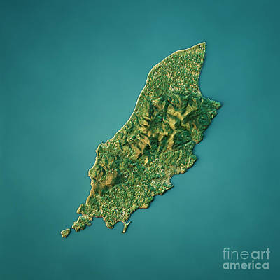 Isle Of Man Topographic Map Natural Color Top View Poster by Frank Ramspott