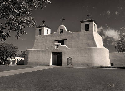 Isleta Mission Monochrome Poster by Gordon Beck