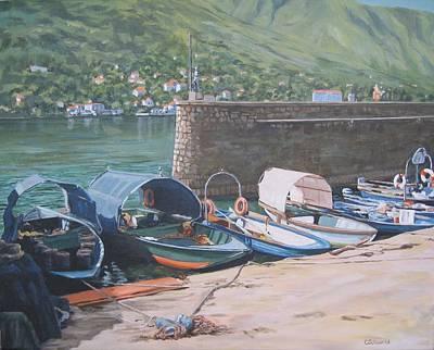 Isola Pescatori Fishing Boats Poster