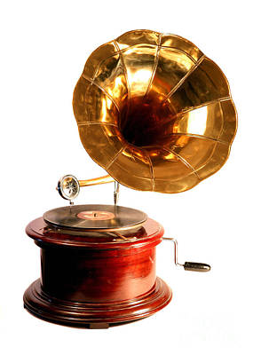 Isolated Antique Gramophone Poster