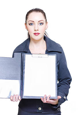 Isolated Business Woman Opening Clipboard Survey Poster