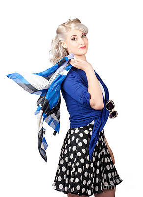 Isolated Caucasian Woman With Pinup Fashion Style Poster