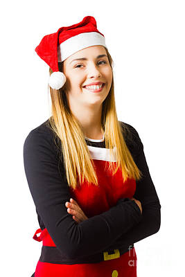 Isolated Christmas Girl Smiling In Cooking Apron Poster