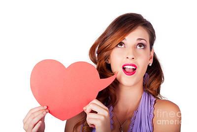 Isolated Girl Talking Through Heart Speech Bubble Poster