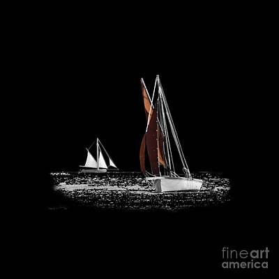 Isolated Yacht Carrick Roads On A Transparent Background Poster