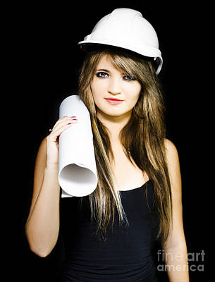 Isolated Young Female Structural Engineer Poster by Jorgo Photography - Wall Art Gallery