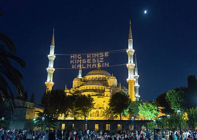 Istanbul Blue Mosque At Ramadan Poster by Stephen Stookey