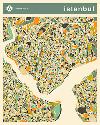 Istanbul Map 2 Poster