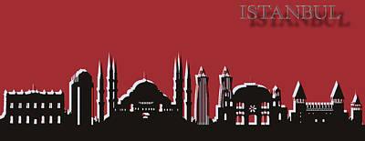Istanbul Skyline Silhouette Pop Art Poster