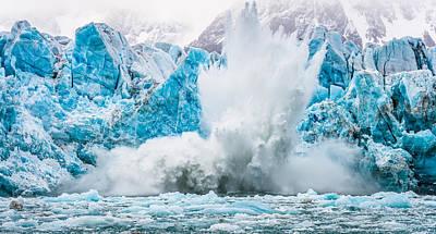 It Makes A Big Splash - Glacier Calving Photograph Poster