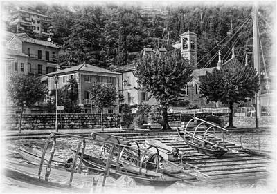 Italian Boat Dock B/w Poster