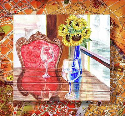 Poster featuring the painting Italian Cafe  by Irina Sztukowski