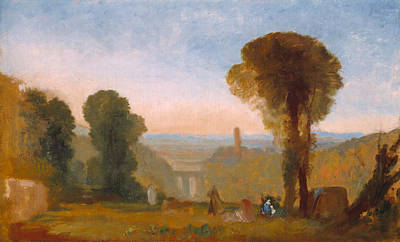 Italian Landscape With Bridge And Tower Poster