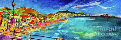 Poster featuring the painting Italian Riviera Coastline Ocean View by Ginette Callaway