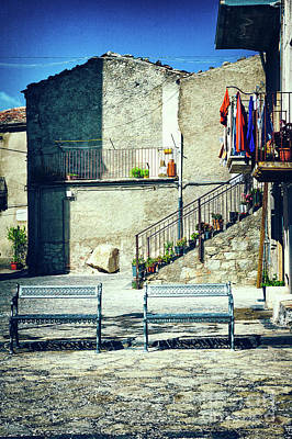 Poster featuring the photograph Italian Square With Benches by Silvia Ganora