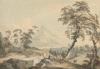 Italianate Landscape With Travelers, No. 1 Poster by Paul Sandby