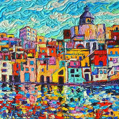 Italy Procida Island Marina Corricella Naples Bay Palette Knife Oil Painting By Ana Maria Edulescu Poster