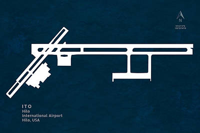 Ito Hilo International Airport In Hilo Hawaii Usa Runway Silhoue Poster