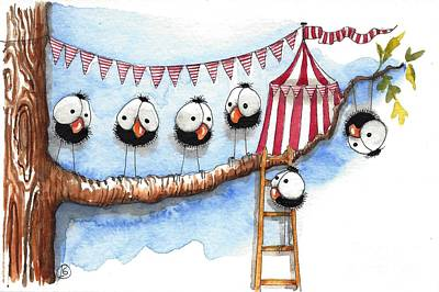 Its A Circus Up There Poster by Lucia Stewart