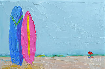 It's A Date - Surf Boards At The Beach - Modern Impressionist Knife Palette Oil Painting Poster