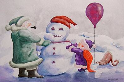 Poster featuring the painting It's Cold Grandpa by Geni Gorani