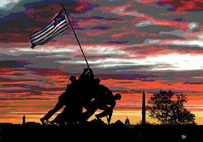 Iwo Jima At Sunset Poster
