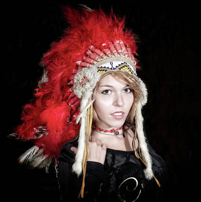 Izzy With Head Dress Poster by Jerry Golab