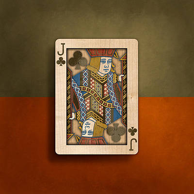 Jack Of Clubs In Wood Poster