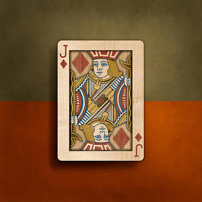 Jack Of Diamonds In Wood Poster
