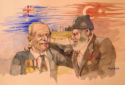Poster featuring the painting Jack Ryan And Hyseyin Kacmaz by Ray Agius