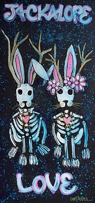 Poster featuring the painting Jackalope Love by Laurie Maves ART