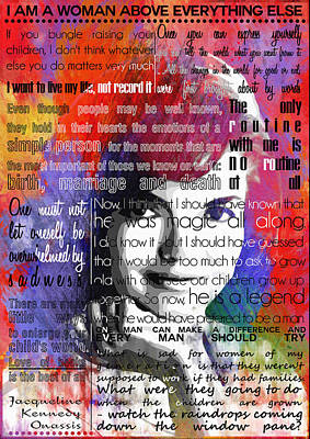 Jackie Kennedy Motivational Inspirational Independent Quotes 2 Poster by Diana Van