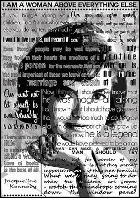Jackie Kennedy Motivational Inspirational Independent Quotes Poster by Diana Van