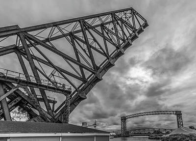 Jackknife Bridge To The Clouds B And W Poster