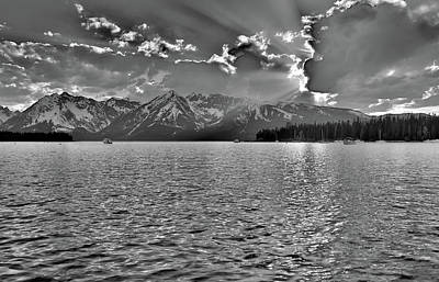 Jackson Lake Black And White Poster