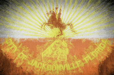 Poster featuring the digital art Jacksonville City Flag by JC Findley
