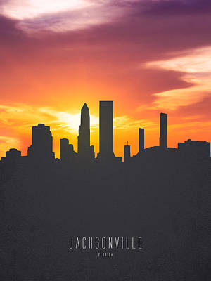 Jacksonville Florida Sunset Skyline 01 Poster by Aged Pixel