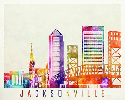 Jacksonville Landmarks Watercolor Poster Poster by Pablo Romero