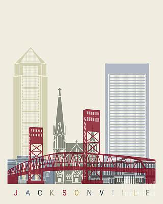 Jacksonville Skyline Poster Poster by Pablo Romero