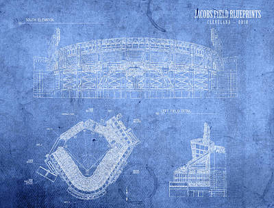 Jacobs Field Cleveland Indians Ohio Baseball Team Field Blueprints Poster by Design Turnpike