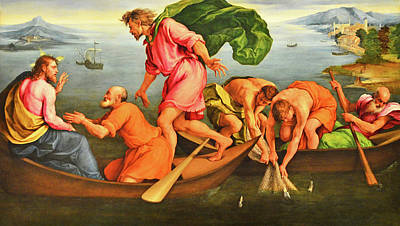 Poster featuring the photograph Jacopo Bassano Fishes Miracle by Munir Alawi