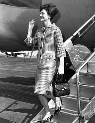 Jacqueline Kennedy Deplanes In New York Poster by Everett