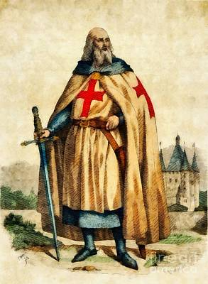 Jacques De Molay, Last Grand Master Of The Knights Templar Poster by John Springfield