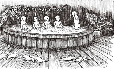 Poster featuring the drawing Jacuzzi 2 by R  Allen Swezey