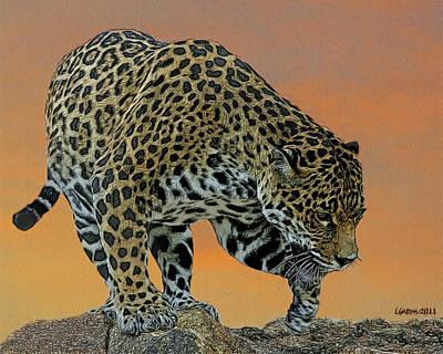 Jaguar At Sunset 2 Poster by Larry Linton