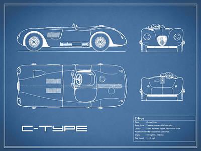 Jaguar C-type Blueprint Poster