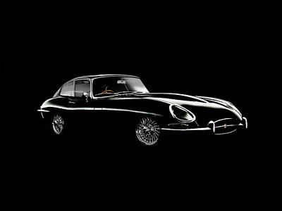 Jaguar E Type Black Edition Poster by Mark Rogan