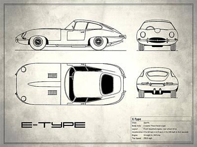 Jaguar E Type Blueprint Design Poster by Mark Rogan