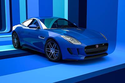 Jaguar F-type - Blue Retro Poster