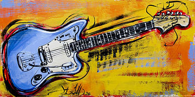 Poster featuring the painting Jaguar Fender Guitar by John Gibbs